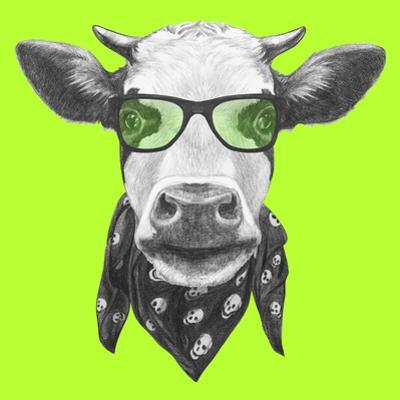 Portrait of Cow with Glasses and Scarf. Hand Drawn Illustration. by victoria_novak
