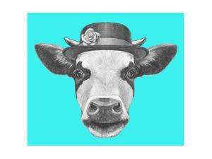 Portrait of Cow with Hat. Hand Drawn Illustration. by victoria_novak