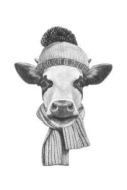 Portrait of Cow with Scarf and Hat. Hand Drawn Illustration. by victoria_novak