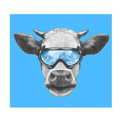 Portrait of Cow with Ski Goggles. Hand Drawn Illustration. by victoria_novak