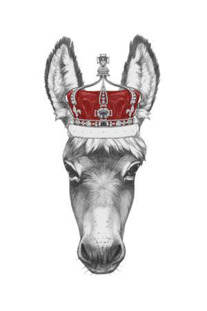 Portrait of Donkey with Crown. Hand Drawn Illustration. by victoria_novak