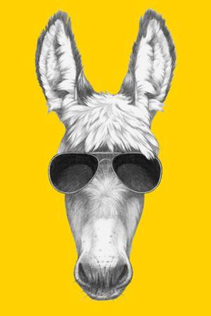 Portrait of Donkey with Sunglasses. Hand Drawn Illustration. by victoria_novak