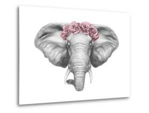 Portrait of Elephant with Floral Head Wreath. Hand Drawn Illustration. by victoria_novak