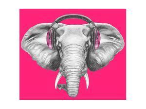 Portrait of Elephant with Headphones. Hand Drawn Illustration. by victoria_novak