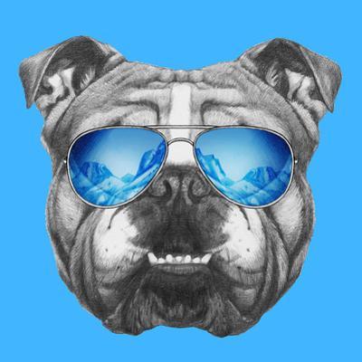 Portrait of English Bulldog Mirror Sunglasses. Hand Drawn Illustration. by victoria_novak