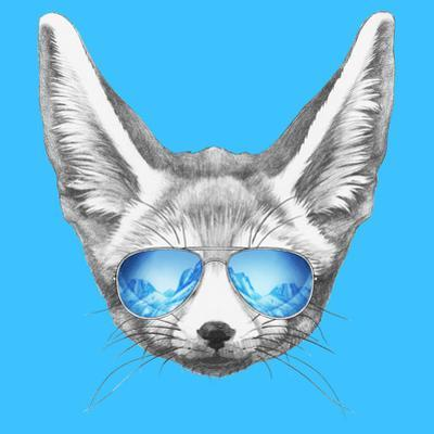 Portrait of Fennec Fox with Mirror Sunglasses. Hand Drawn Illustration. by victoria_novak