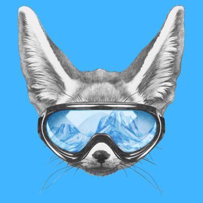 Portrait of Fennec Fox with Ski Goggles. Hand Drawn Illustration. by victoria_novak