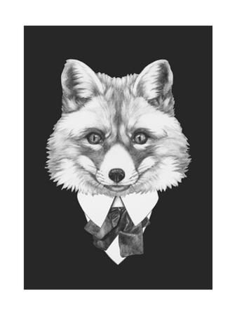 Portrait of Fox in Suit. Hand Drawn Illustration. by victoria_novak