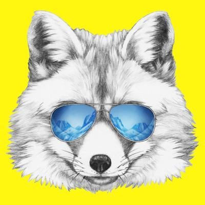 Portrait of Fox with Mirror Sunglasses. Hand Drawn Illustration. by victoria_novak