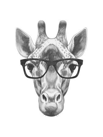 Portrait of Giraffe with Glasses. Hand Drawn Illustration. by victoria_novak