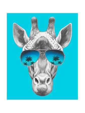 Portrait of Giraffe with Mirror Sunglasses. Hand Drawn Illustration. by victoria_novak