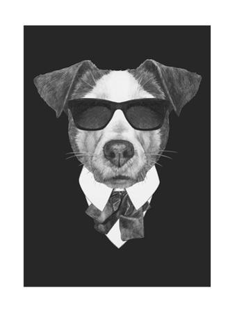 Portrait of Jack Russell Dog in Suit. Hand Drawn Illustration. by victoria_novak