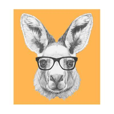 Portrait of Kangaroo with Glasses. Hand Drawn Illustration. by victoria_novak