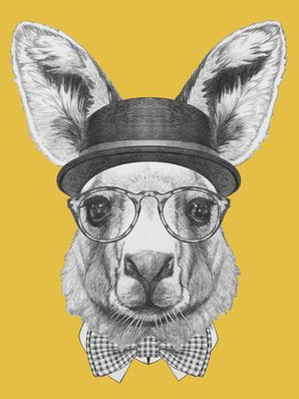Portrait of Kangaroo with Hat, Glasses and Bow Tie. Hand Drawn Illustration. by victoria_novak