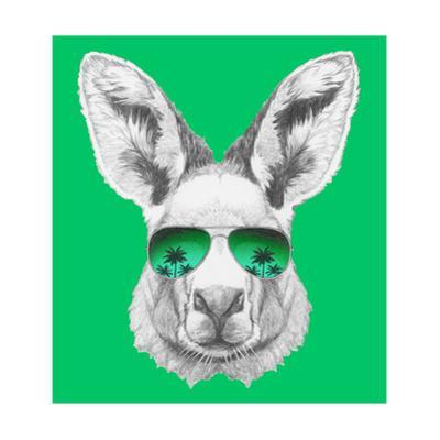 Portrait of Kangaroo with Mirror Sunglasses. Hand Drawn Illustration. by victoria_novak