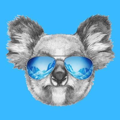 Portrait of Koala with Mirror Sunglasses. Hand Drawn Illustration. by victoria_novak