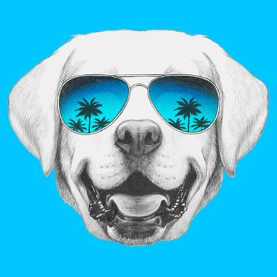 Portrait of Labrador with Mirror Sunglasses. Hand Drawn Illustration. by victoria_novak