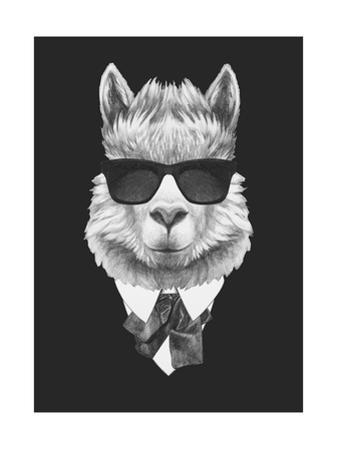 Portrait of Lama in Suit. Hand Drawn Illustration. by victoria_novak