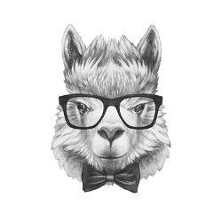 3ca925408d Portrait of Lama with Glasses and Bow Tie. Hand Drawn Illustration. by  victoria novak