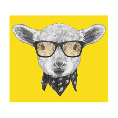 Portrait of Lamb with Glasses and Scarf. Hand Drawn Illustration. by victoria_novak