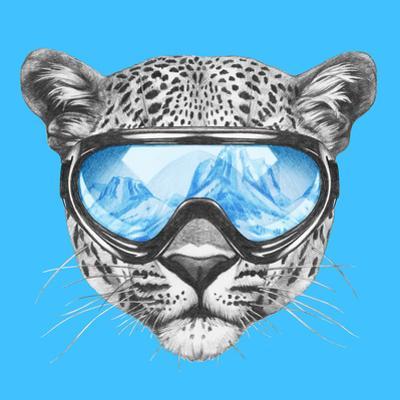 Portrait of Leopard with Ski Goggles. Hand Drawn Illustration.