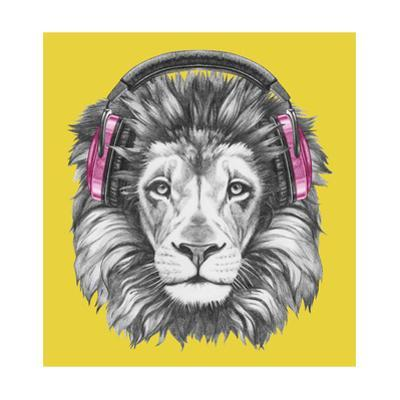 Portrait of Lion with Headphones. Hand Drawn Illustration. by victoria_novak
