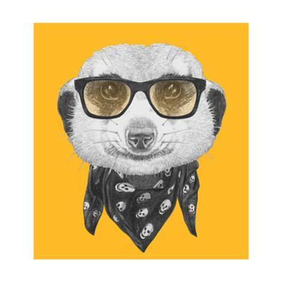 Portrait of Mongoose with Glasses and Scarf. Hand Drawn Illustration. by victoria_novak