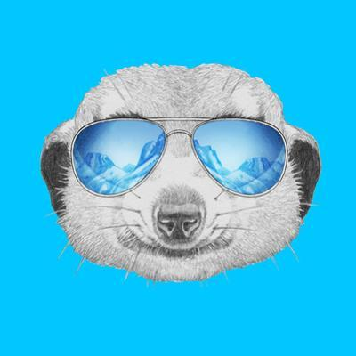 Portrait of Mongoose with Mirror Sunglasses. Hand Drawn Illustration. by victoria_novak