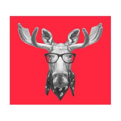 Portrait of Moose with Glasses and Scarf. Hand Drawn Illustration. by victoria_novak