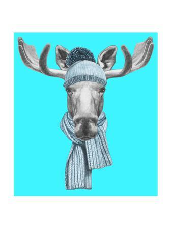Portrait of Moose with Hat and Scarf. Hand Drawn Illustration. by victoria_novak