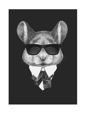 Portrait of Mouse in Suit. Hand Drawn Illustration. by victoria_novak