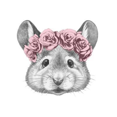 Portrait of Mouse with Floral Head Wreath. Hand Drawn Illustration. by victoria_novak