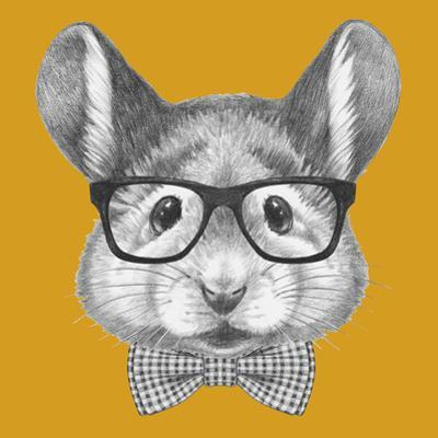 Portrait of Mouse with Glasses and Bow Tie. Hand Drawn Illustration. by victoria_novak