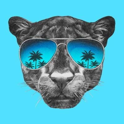 Portrait of Panther with Mirror Sunglasses. Hand Drawn Illustration. by victoria_novak