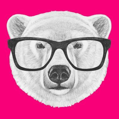Portrait of Polar Bear with Glasses. Hand Drawn Illustration. by victoria_novak