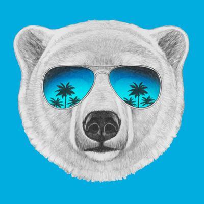 Portrait of Polar Bear with Mirror Sunglasses. Hand Drawn Illustration. by victoria_novak