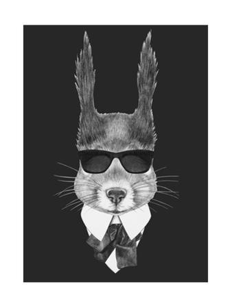 Portrait of Squirrel in Suit. Hand Drawn Illustration. by victoria_novak