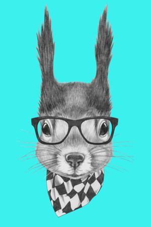 Portrait of Squirrel with Scarf and Glasses. Hand Drawn Illustration. by victoria_novak