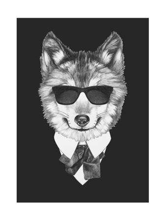 Portrait of Wolf in Suit. Hand Drawn Illustration. by victoria_novak