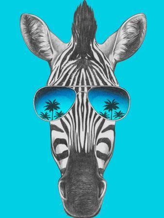 Portrait of Zebra with Mirror Sunglasses. Hand Drawn Illustration. by victoria_novak