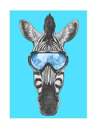 Portrait of Zebra with Ski Goggles. Hand Drawn Illustration. by victoria_novak