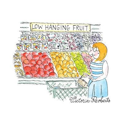 """A Woman shops down the vegetable aisle of a grocery store.  A sign says: """"... - New Yorker Cartoon"""
