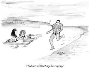 """""""And me without my bear spray!"""" - New Yorker Cartoon by Victoria Roberts"""