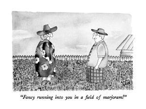 """Fancy running into you in field of marjoram!"" - New Yorker Cartoon by Victoria Roberts"