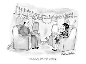 """Yes, we are taking in laundry."" - New Yorker Cartoon by Victoria Roberts"
