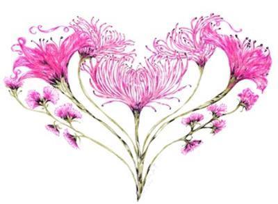 Pink Floral Heart, 2017 by Victoria Watt