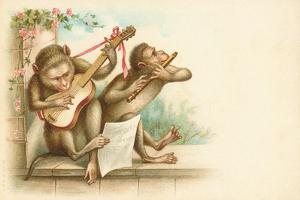 Victorian Postcard of Monkey Musicians