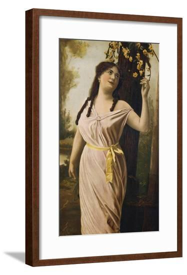 Victorian Poster Depicting a Woman by a Tree--Framed Giclee Print