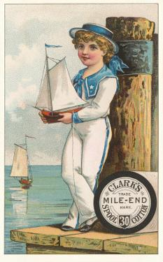Victorian Sailor Boy with Toy Boat