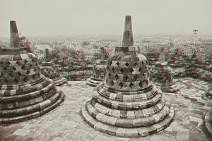 Borobudur Temple.Java.Indonesia. Anaglyph Stereo.(You Need Use Cyan/Red Glasses to Take 3D Effect) by viczast